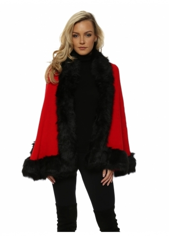 Scarlet Red Knitted Embossed Black Faux Fur Trim Cape