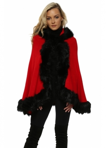 Scarlet Red Faux Fur Hooded Swing Cape
