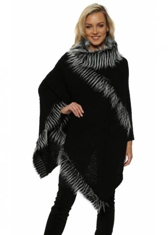 Black Faux Fur Boucle Polo Poncho