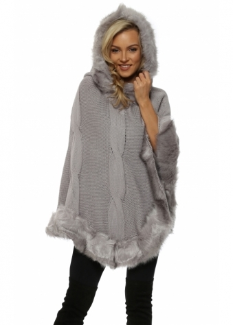 Grey Cable Knit Faux Fur Trim Hooded Poncho