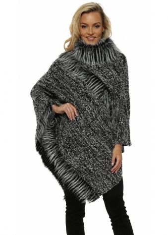 Grey Faux Fur Boucle Polo Poncho