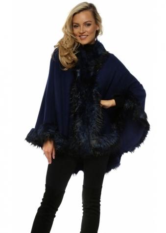 Navy Blue Hooded Faux Fur Swing Cape