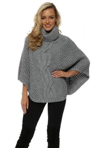 Chunky Cable Knit Grey Polo Poncho