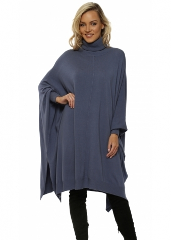 Petrol Blue Oversized Wool Mix Slouchy Polo Poncho Jumper