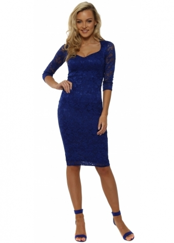 Cobalt Blue Lace Sweetheart Neckline Midi Dress