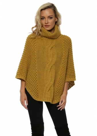 Mustard Chunky Cable Knit Polo Poncho