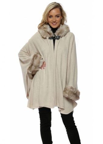 Buckle Hooded Cream Luxe Faux Fur Poncho