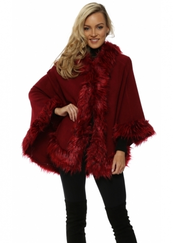 Burgundy Hooded Faux Fur Swing Cape