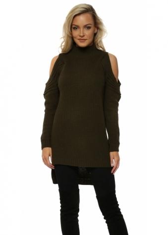 Khaki Polo Neck Cold Shoulder Chunky Knit Jumper