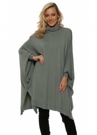 Green Oversized Wool Mix Slouchy Polo Poncho Jumper