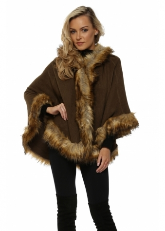 Khaki Hooded Fox Faux Fur Swing Cape