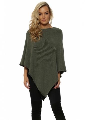 Khaki Green Fine Knit Star Poncho