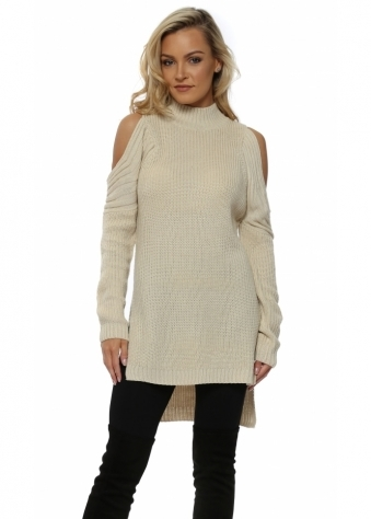 Cream Polo Neck Cold Shoulder Chunky Knit Jumper