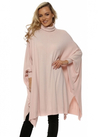 Pink Oversized Wool Mix Slouchy Polo Poncho Jumper
