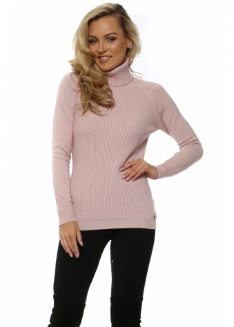 Pink Soft Fine Ribbed Polo Neck Jumper