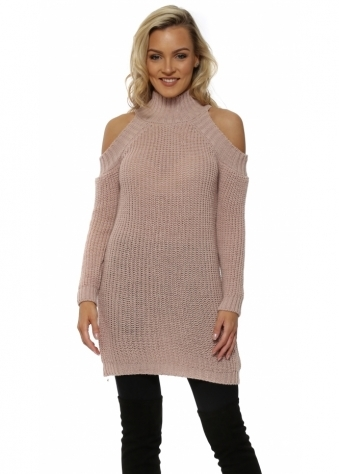 Pink Polo Neck Cold Shoulder Chunky Knit Jumper