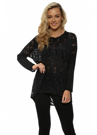 Patsy Black Lace Kammy With Mesh Sleeves