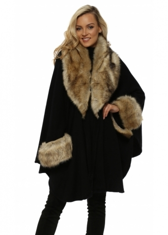 Black Oversized Knitted Swing Cape With Faux Fox Trim