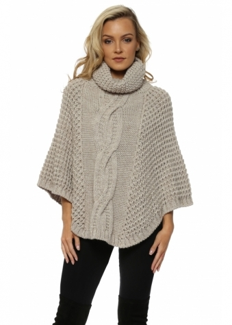 Beige Chunky Cable Knit Polo Poncho