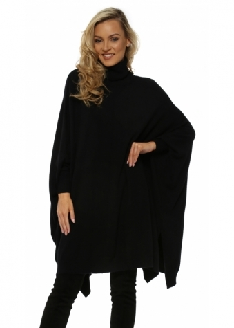 Black Oversized Wool Mix Slouchy Polo Poncho Jumper