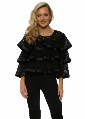 Frilly Lace & Ribbon Cropped Top