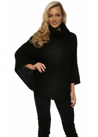 Black Chunky Cable Knit Polo Poncho