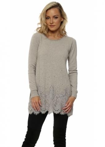 Beige Studded Lace Hem Tunic Jumper