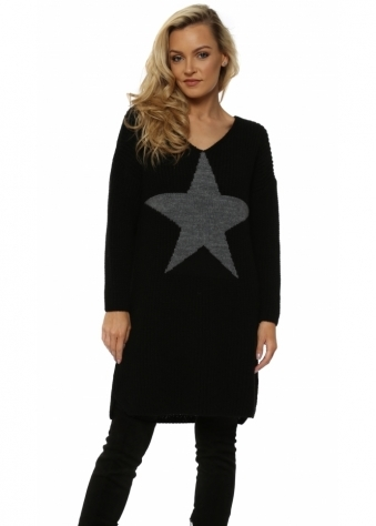 Chunky Knit Long Star Front Black Jumper