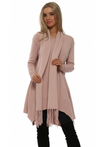 Baby Pink Soft Knit Button Back Tunic Jumper & Scarf
