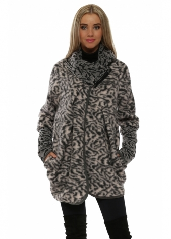 Pink Wool Animal Print Coatigan