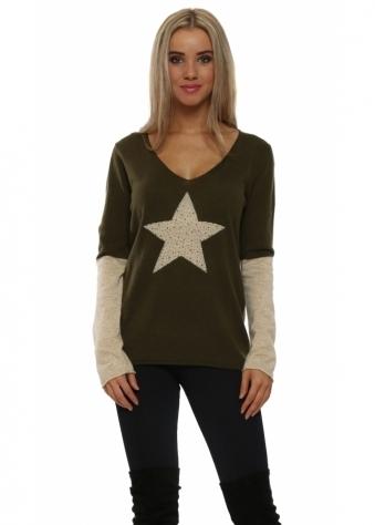 Khaki Contrast Sparkling Star & Sleeve Jumper