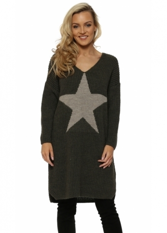 Chunky Knit Long Star Front Khaki Jumper