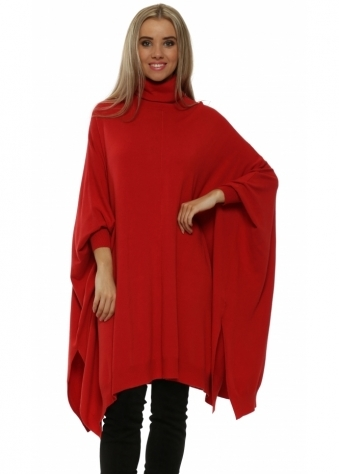 Red Oversized Wool Mix Slouchy Polo Poncho Jumper