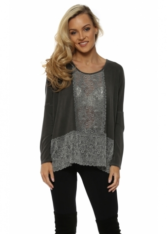 Binkie Bark Lace Insert Slouch Top