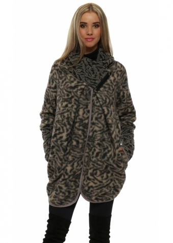 Mocha Wool Animal Print Coatigan