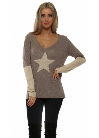 Taupe Contrast Sparkling Star & Sleeve Jumper