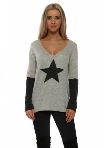 Grey Contrast Sparkling Star & Sleeve Jumper