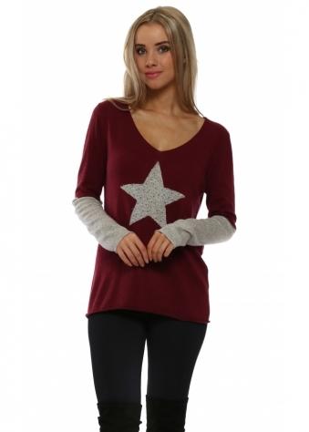 Burgundy Contrast Sparkling Star & Sleeve Jumper