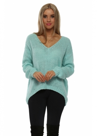 Aqua Chunky Knit Oversized Jumper