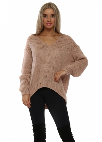 Pink Chunky Knit Oversized Jumper