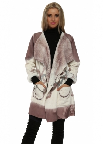 Pink Faux Shearling Paint Splash Coat