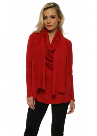 Red Cowl Scarf Neck Pockets Jumper