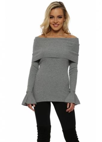 Grey Fine Knit Off The Shoulder Jumper