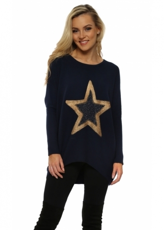 Navy Blue Sparkling Gold Star Rib Knit Jumper