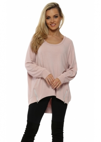 Victoria Chalk Pink Zip Sweater