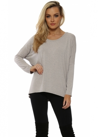 Kammy Chalk Melange Long Sleeved Tunic Top