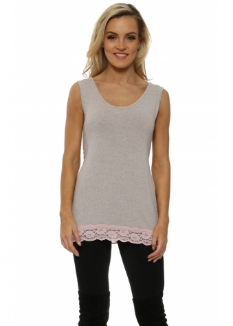 Suzee Lace Border Vest In Chalk Melange