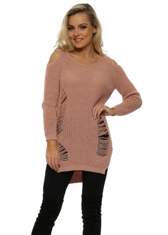 Pink Distressed Cold Shoulder Chunky Knit Jumper