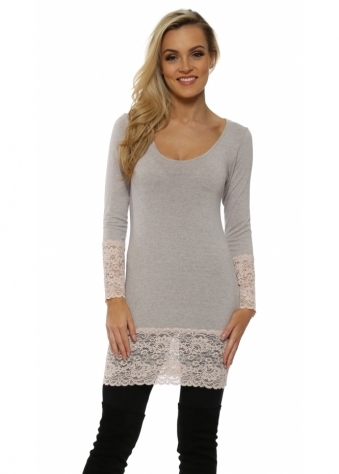 Lauren Chalk Melange Long Sleeve Lace Hem Top
