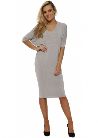 Fenella Chalk Melange Short Sleeve Tunic Dress Top